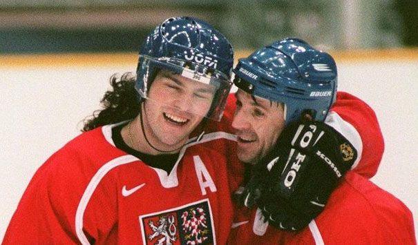 Jaromír Jágr and Jaroslav Svoboda celeberate Svoboda´s winning Czechia goal against Russia in the final match of Olympic Games 1998 in Nagano (Czechia v.Russia 1-0) #Czechia #Russia #hockey #OlympicGames #Japan #Nagano