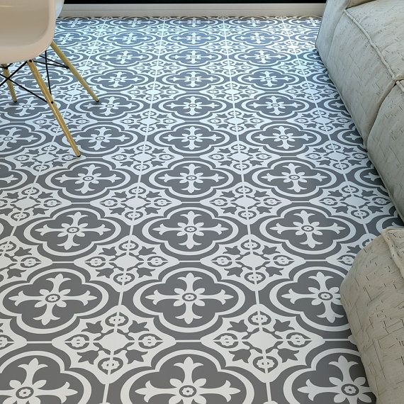 Floor Tiles - Moroccan Tiles - Floor Vinyl - Vinyl Tile - Kitchen Floors - Bathroom Floors- Flooring - Tile Decals - Tile Art - SKU:MOROFL