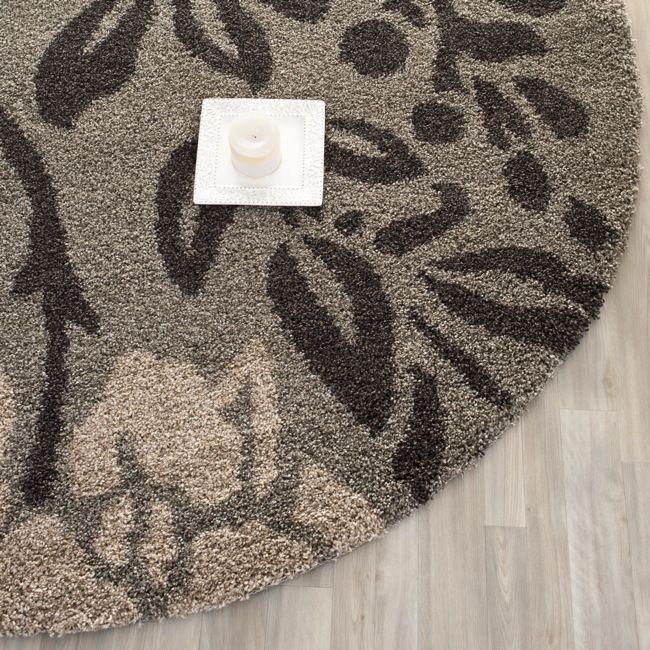 safavieh ultimate shag smoke dark brown floral area rug 4u0027 round