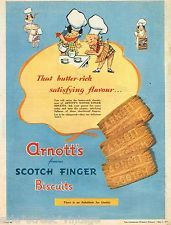 ARNOTT'S SCOTCH FINGER AD   AUSTRALIAN  Vintage Advertising 1957 Original Ad