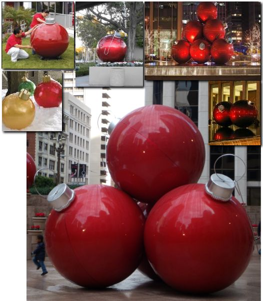 Larger Than Life Oversized Christmas Decoration Ideas: Decorating Giant Holiday/Christmas Ornaments. DIY,using