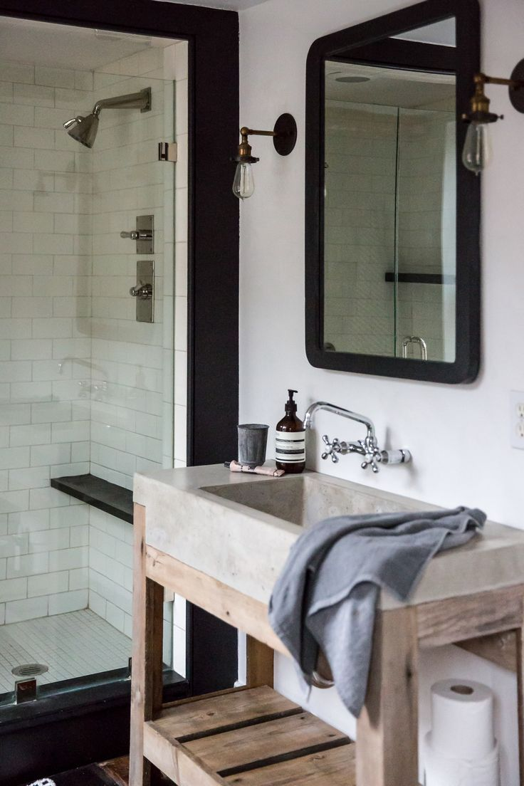 Jersey Ice Cream Co. Old Chatham House, Remodelista, sink and shower-bathroom, black and white, concrete sink, reclaimed wood, subway tile