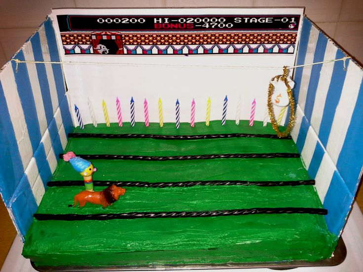My birthday cake for 2014. Circus Charlie and his lion without paws. Because I had to cut 'em off to fit onto the cake ;)
