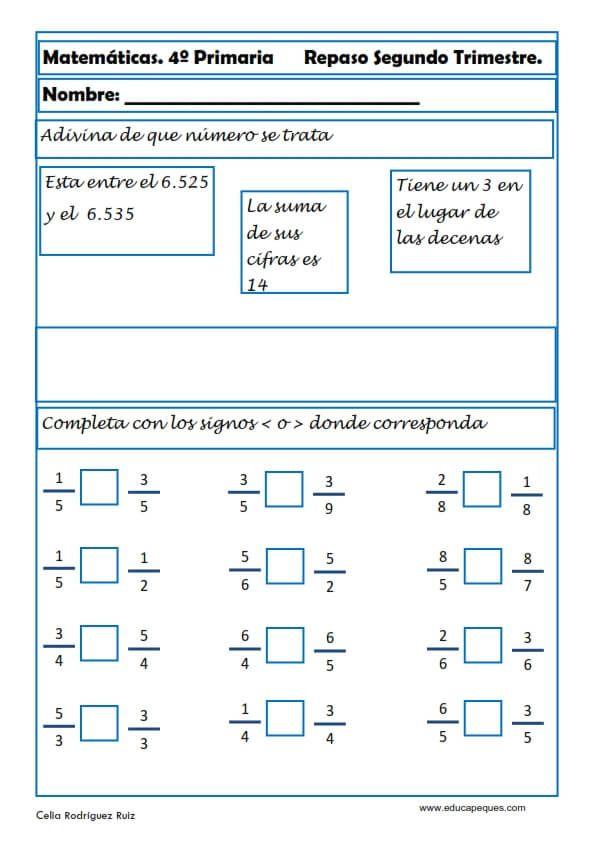 Ejercicios Matemáticas Primaria | Ejercicios matematicas ...