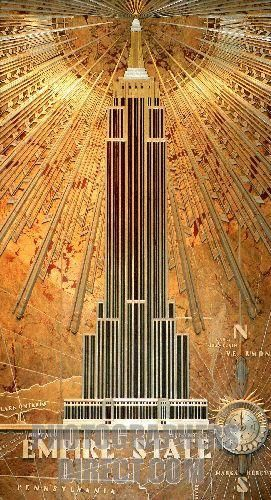Art Deco detail from the interior lobby of the Empire State Building , New York , NYC , USA . stock photo