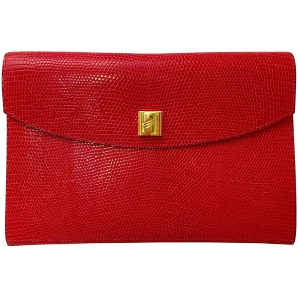 Hermes Red Lizard Envelope Clutch ❤ liked on Polyvore featuring bags, handbags, clutches, lizard handbag, handbags purses, red handbags, red hand bags and hermes handbags