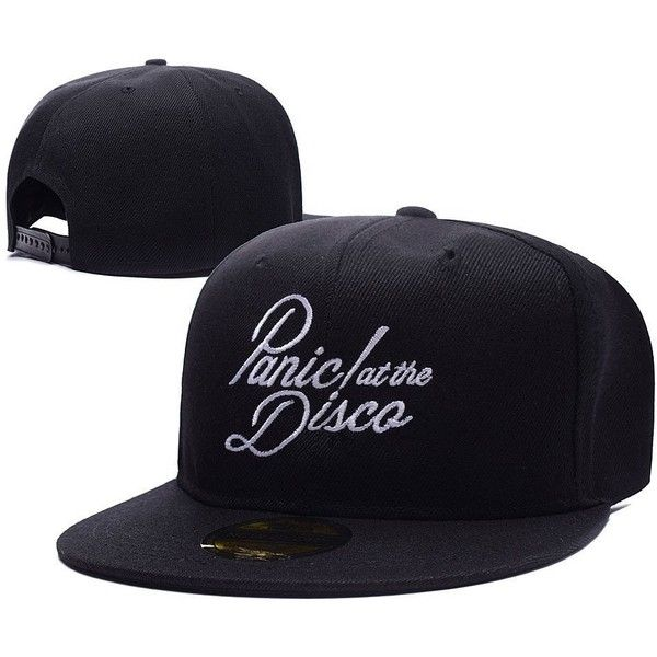 Panic At The Disco Band Logo Adjustable Snapback Caps Embroidery Hats ($11) ❤ liked on Polyvore featuring accessories, hats, embroidered caps, adjustable snapback hats, caps hats, adjustable hats and snapback cap