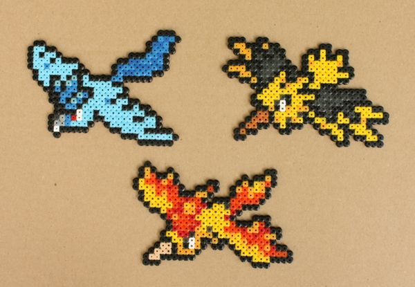 Pokemon Bead Sprites - Articuno Zapdos Moltres by strepie93