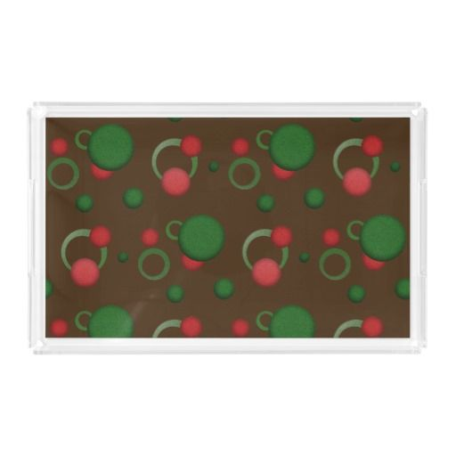 Geometric Dots Circles Retro Pattern on any Color Acrylic Tray