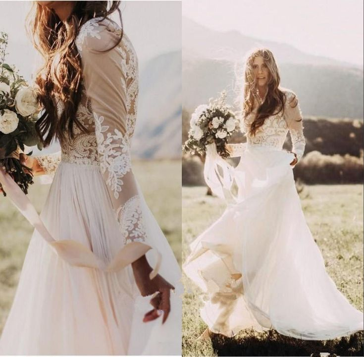Details about Bohemian Country Wedding Dress Sheer Long Sleeve A Line Lace Chiffon Bridal Gown