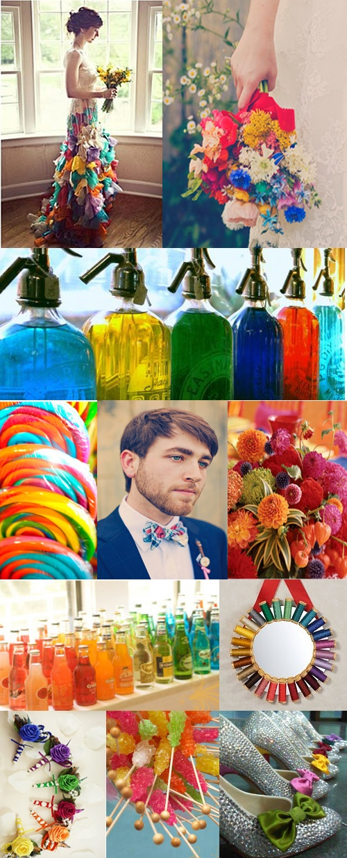 Multi-Colored Wedding Extravaganza! Love The Soda's, Rock Candies, And The Flowers!!! #Bright #Beautiful