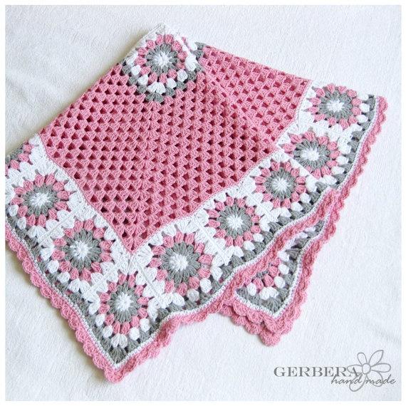 CROCHETED BABY AFGHAN Blanket gray pink