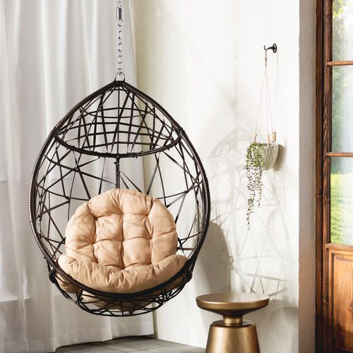 Found it at Wayfair - Auxerre Tear Drop Swinging Chair with Cushion and Stand