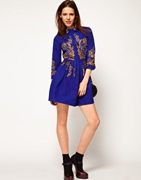 ASOS Shirt Dress With Gold Embroidery