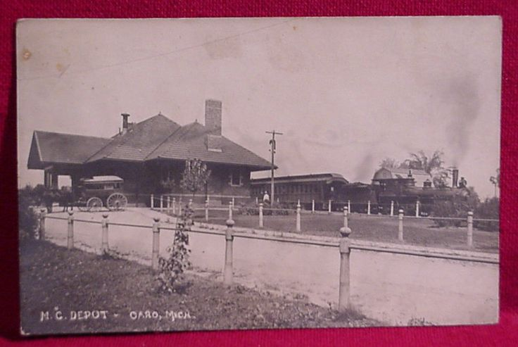 Postcard of the Michigan Central Depot in Caro, Michigan, 1916