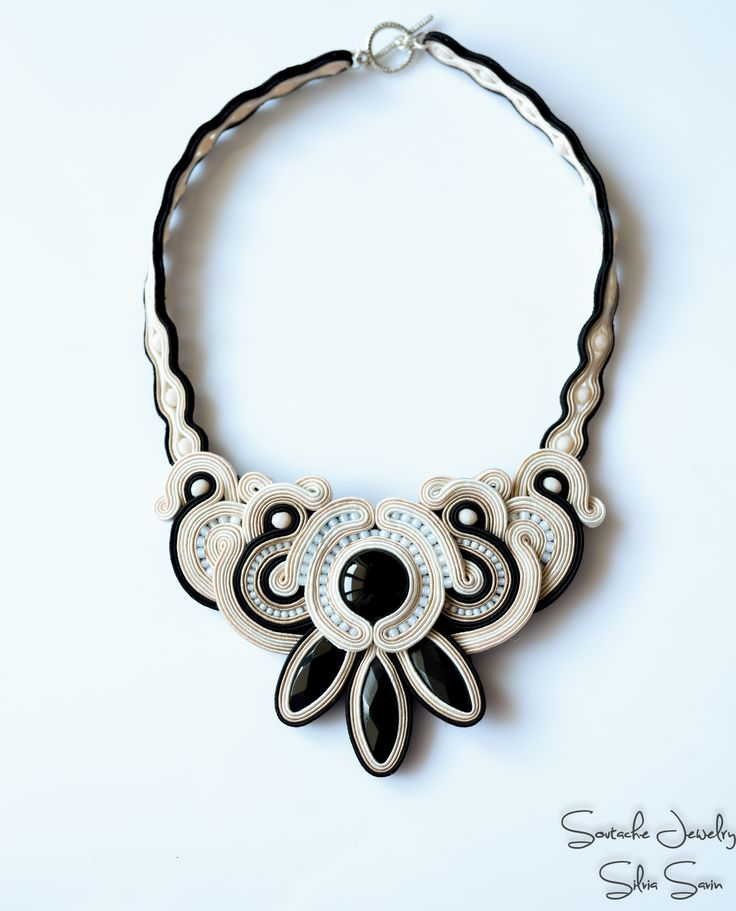 Soutache necklace with onix, Toho and Czech beads