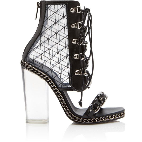 Balmain Diamona Transparent Heel Bootie ($2,395) ❤ liked on Polyvore featuring shoes, boots, ankle booties, black, black leather booties, black ankle bootie, short leather boots, leather ankle boots and leather booties