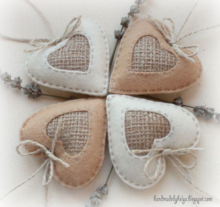Handmade by Helga: Rustic hearts made of felt and burlap
