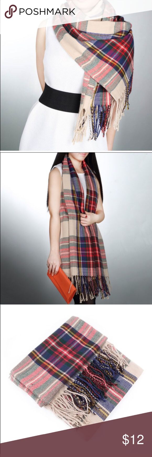 Plaid blanket scarf Not the big square kind but a little more rectangle shape for easier wear, super soft! New in packaging. Accessories Scarves & Wraps