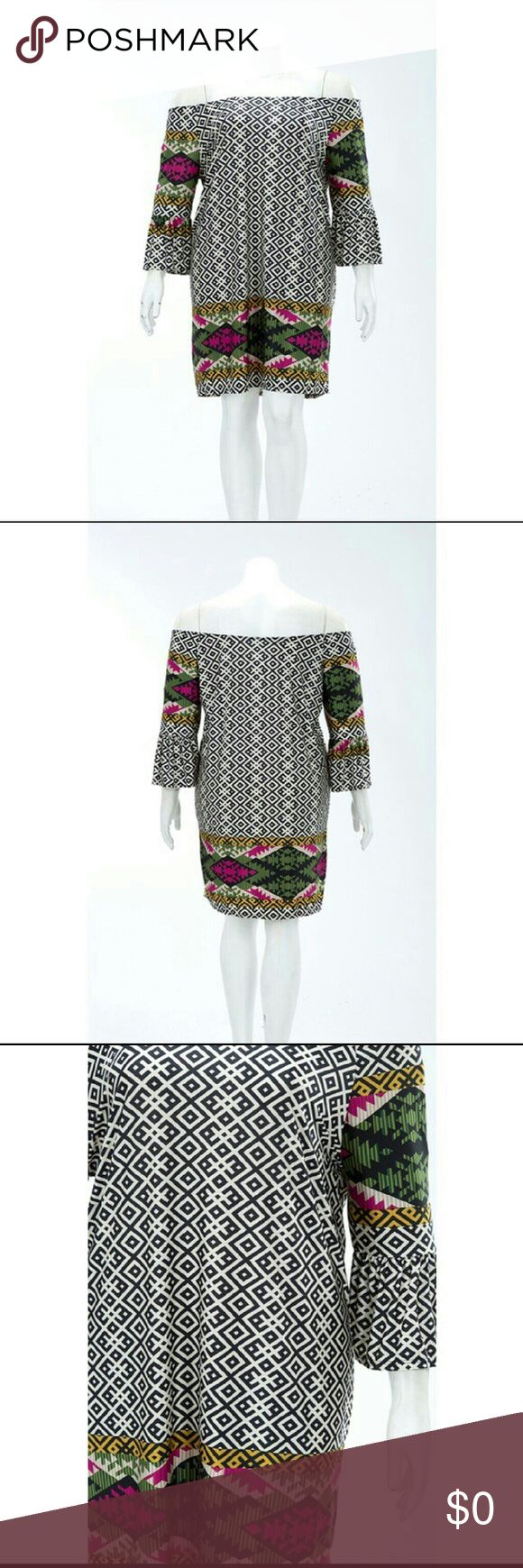 Aztec Print Off-Shoulder Plus Size  Dress HP?? Host Pick 4/4?? Three available! Now adding plus sizes to my boutique!  Soft mixed Aztec print  off the shoulders minidress with bell sleeves.  Lovely piece! Made in the U.S.A.  Polyester/spandex blend. Available in 1X, 2X, and 3X. (Only 1 of each). Dresses Mini