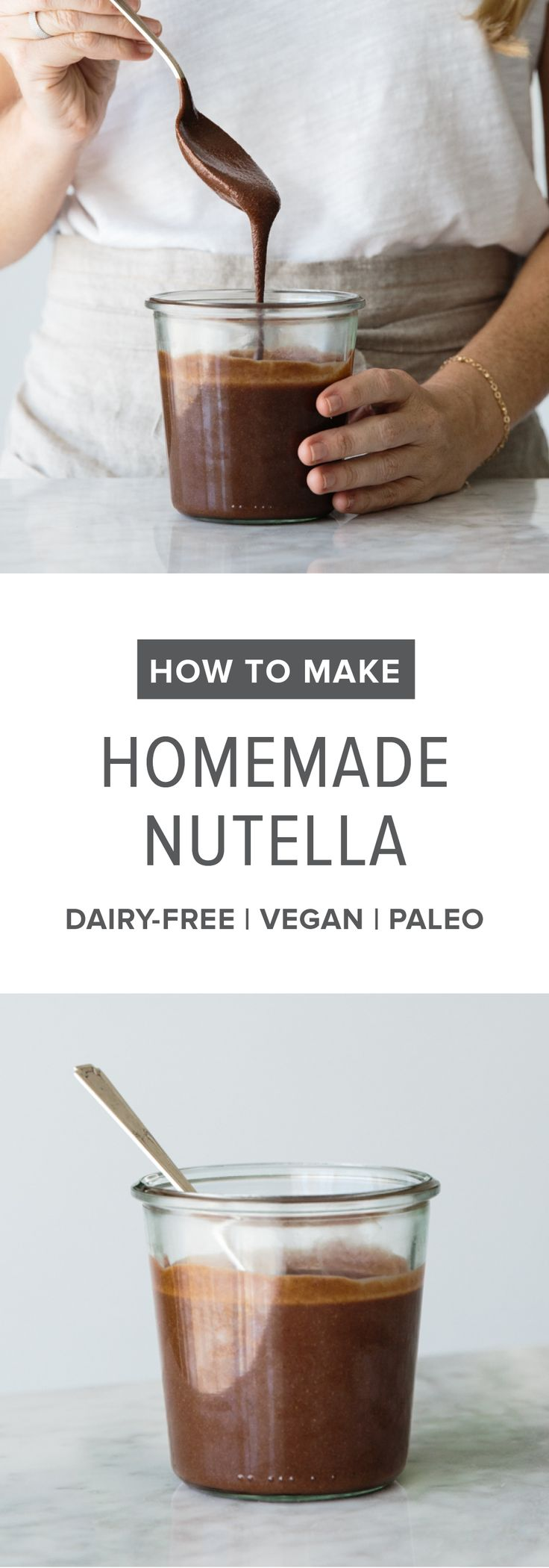 (dairy-free, vegan, paleo) How to make homemade nutella. A delicious, healthier alternative with a step-by-step tutorial video. #Nutella #Homemade #HealthyRecipes #Vegan #Paleo #DairyFree