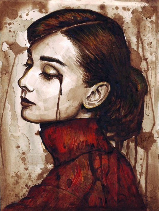 """Audrey Hepburn - Quiet Sadness"" - Art Print by Olga Shvartsur"