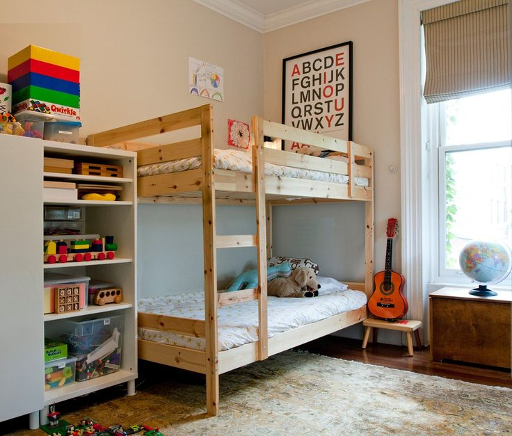 Sumptuous Ikea Kura Bed vogue New York Eclectic Kids Decoration ideas with  beige striped roman shade