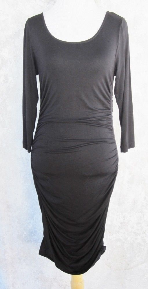 465719b3beb4 Basic H & M Dress MEDIUM Black LBD Pull On Ruching Little Black Dress Scoop  Neck #HM #SheathDress #PartyCocktail