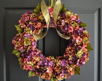 Fall Blended Hydrangea Wreath Autumn Wreaths by HomeHearthGarden