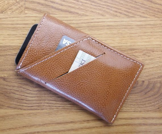 iPhone 6 sleeve Leather iPhone case and wallet brown by meandbags