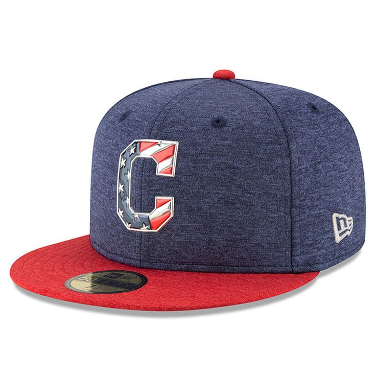 Cleveland Indians New Era 2017 Stars and Stripes 59FIFTY Fitted Hat - Heathered Navy/Heathered Red