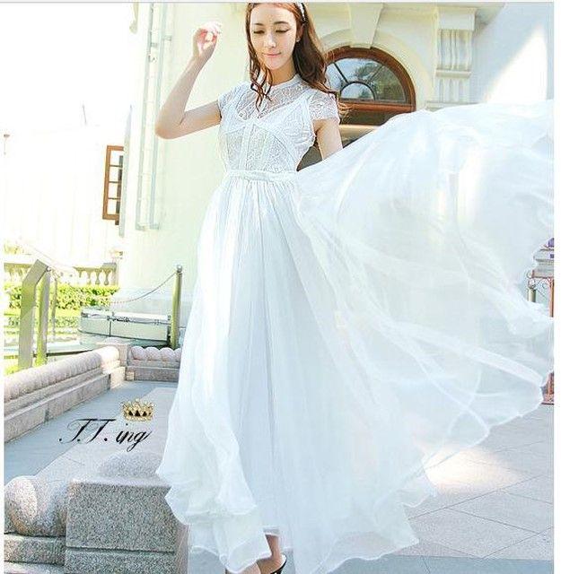 원피스/여름 드레스 새로운 여성 흰색 검은 색 쉬폰 드레스 여자들은 바느질 레이스 긴 드레스 드레스 Summer dress new  Female white  Black chiffo