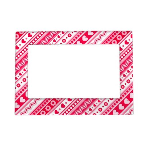Abstract Red pattern + dots flowers hearts Picture Frame Magnet