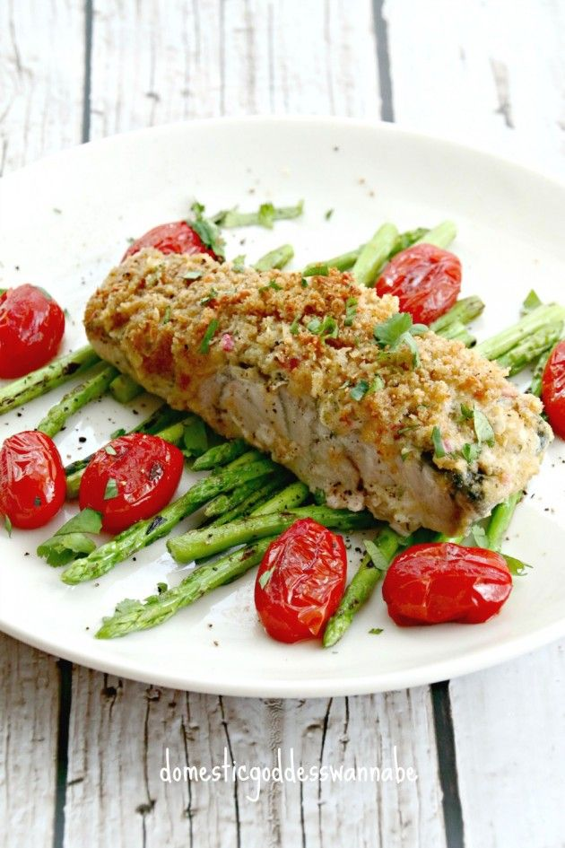 Baked Parmesan Crusted Barramundi With Garlic Butter, Asparagus And Cherry Tomatoes | Kuhlbarra Barramundi