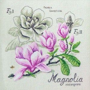Lin : Étude au Magnolia (maxi-grille) à broder au point de croix