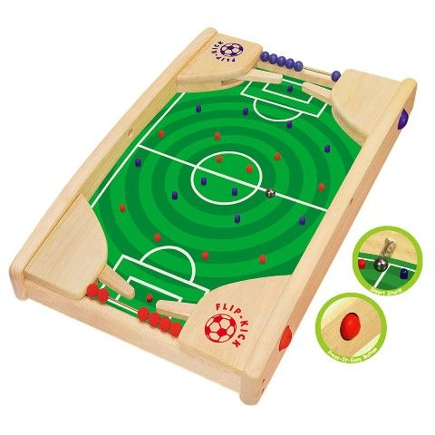 Kids gifts online - Artiwood Flip Kick - $76.95 - The perfect gift for any soccer loving little boy or girl!  The aim of Flipkick is to get the ball through the opponents goal. Start the game by releasing the ball through one of the side holes. Press the right or left flip kick buttons to either kick the ball forward or block the opponents shot. Mark a score by sliding a bead along the score track.  Kids gifts online - Artiwood. #Christmas #stockingfiller