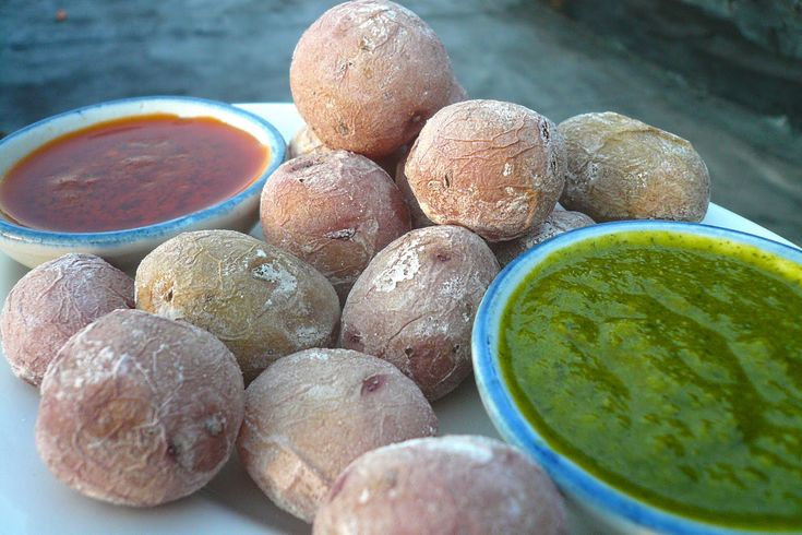 Wrinkled Potatoes with Red and Green Mojo, Papas Arrugadas con Mojos Rojo y Verde