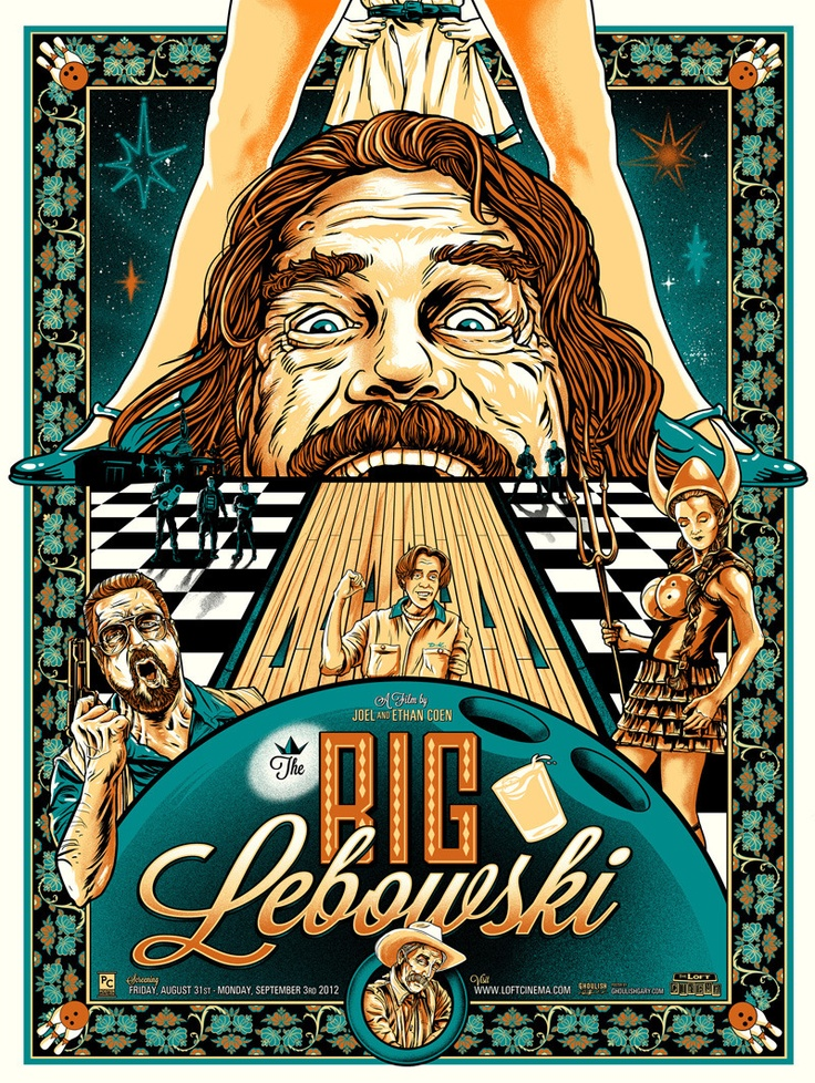 Movie Poster: The Big Lebowski (Metallic Teal & GID Ink Variant) by Gary Pullin