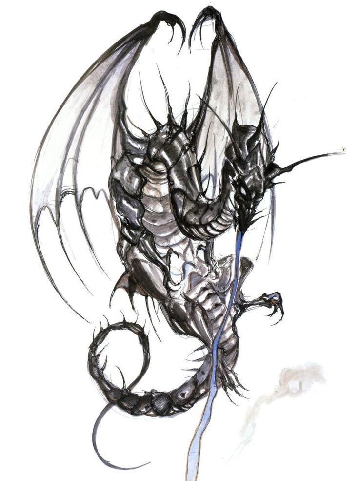 Final Fantasy III - Bahamut Concept Art - Yoshitaka Amano