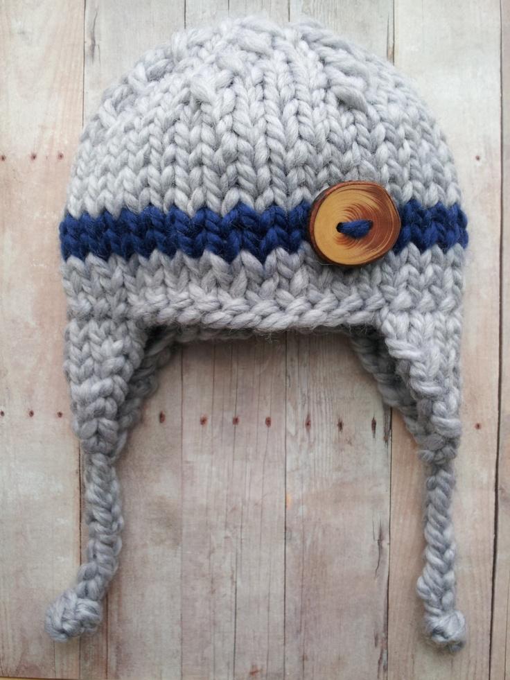 gray  blue baby  boy knitted hat newborn by PreciousLittleBaby, $24.99