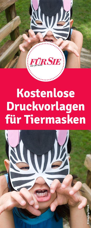 kostenlose Druckvorlagen für Tiermasken