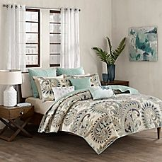 image of INK+IVY Mira Coverlet Set in Blue