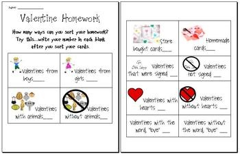 Valentine S Day Cards Sorting Homework Classroom