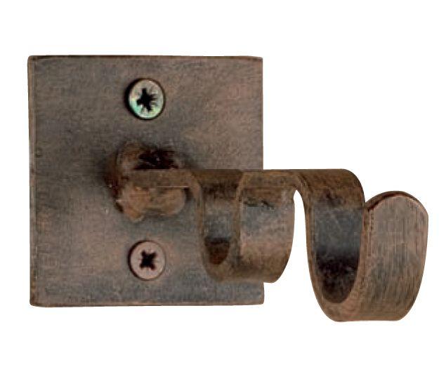 Soporte barra de cortina doble base cuadrada, fabricado en forja de forma artesanal, se puede cambiar el color de la forja