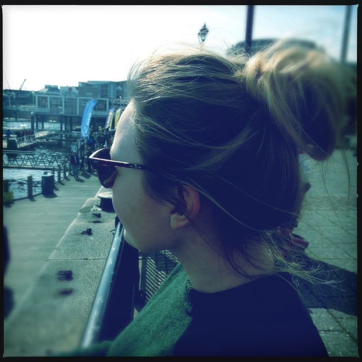 Messy bun, top knot, with blonde highlights. Casual hair for lazy day :) Rayban folding club master