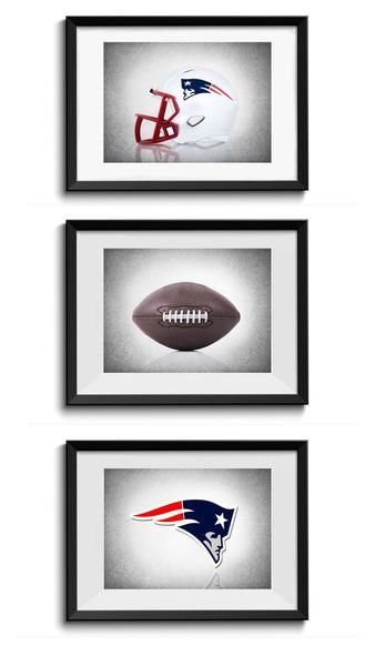 Man cave - Set of 3 New England Patriots photo or canvas prints