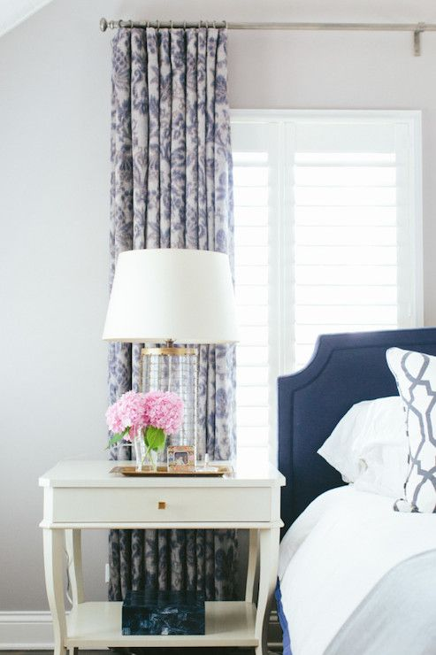 Navy Headboard, Transitional, bedroom, Kate Marker Interiors
