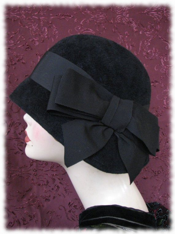 Hat  Black Velour Cloche by BoringSidney on Etsy, $226.00
