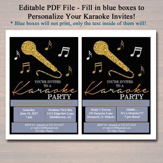 EDITABLE Adult Karaoke Party Invitation Birthday Invitation