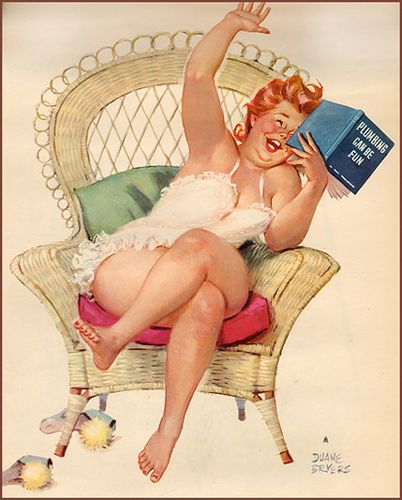 "Hilda relaxes after a day in the water (where else?_ )  She's reading ""Plumbing can be Fun"" - for some reason, Hilda finds it to be a 'hysterical read'.:"